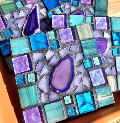Mosaic Agate Coasters Stained Glass Decor Bar Ware Housewarming Gift Drink Turquoise Rich Purples Colors Metallic Italian Tile