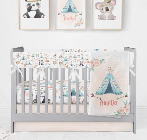 Boho Baby Nursery, Floral Crib Sheet, Girl Bedding Set Girl, Blanket, Personalized Fitted Sheet