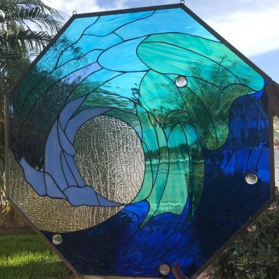 Octagon Ocean Wave Leaded Stained Glass Window Panel - Blue Room Stain Insert Customizable Item#358