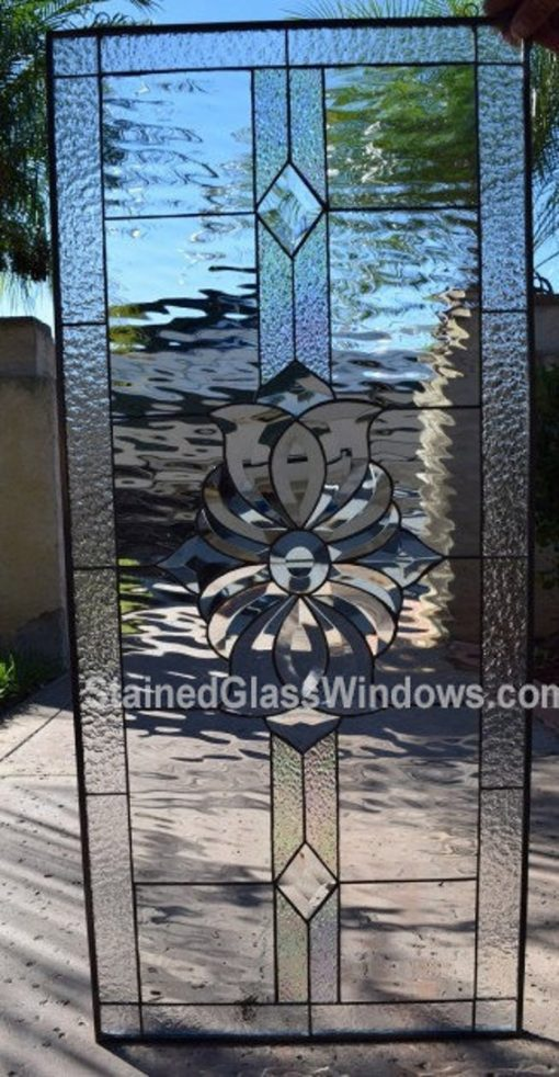 Lovely Clear Beveled & Textured Geometric Stained Glass Window Panel Transom - Abstract Modern Art Customizable Item#243