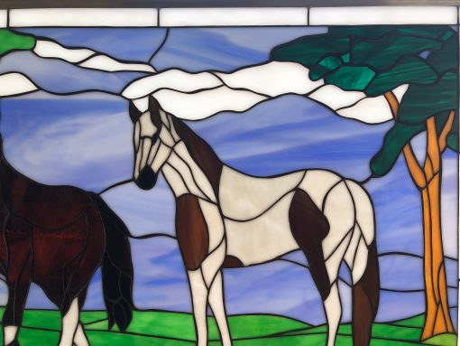 Beautiful Horse Play Stained Glass Window Panel - Two Horses Landscape Mountains Trees Nature Stain Art Decor Customizable Item#321