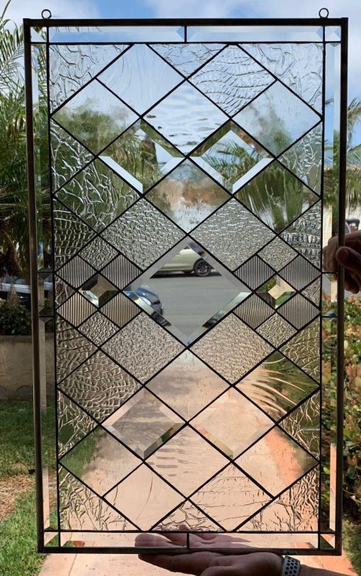 Stunning Beveled & Stained Glass Window Panel Hangings - Sugarloaf Leaded Art Tudor Style Diamonds Clear Customizable Item#193