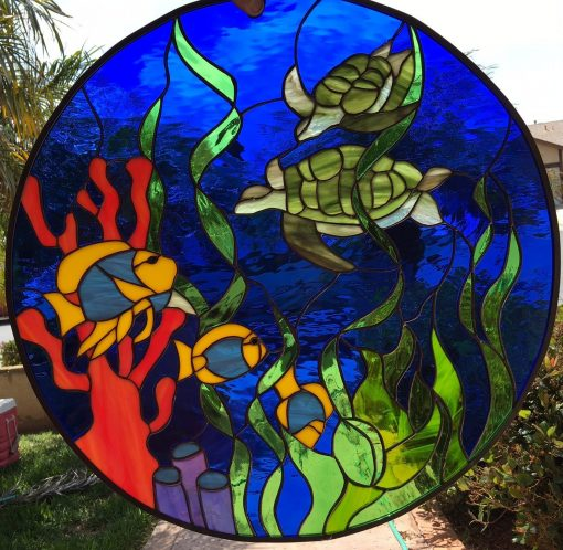 Incredible Turtle, Fish & Coral Stained Glass Window Panel Hangings - Ocean Sealife Tortoise Reef Art Decor Customizable Item#191