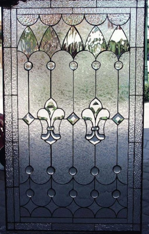 Classic Beveled Fleur De Lis & Jewels Stained Glass Panel - Wildomar Clear Textured Contemporary Art Customizable Item#410