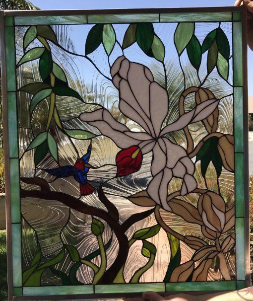 Stunning Wild Orchid, Hummingbird Stained Glass Window Panel, Hangings - Flower Bird Art Decor Gift Customizable Item#361
