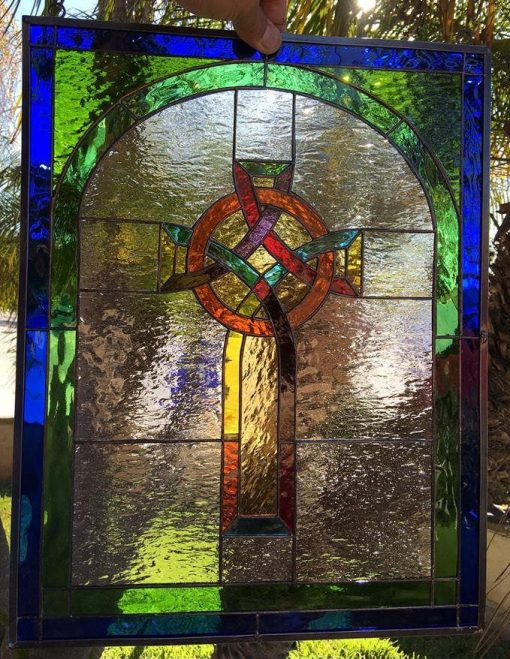 Colorful Gothic Cross Stained Glass Window Panel Hangings - Church Religious Stain Abstract Customizable Item#357