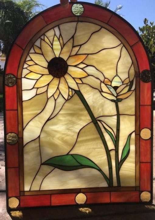 Arched Leaded Stained Glass Sunflower Window Panel - The Duo Stain Art Decor Customizable Item#497