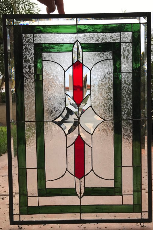 Lovely Clear Beveled & Textured Victorian Stained Glass Window Panel - Santee Abstract Gothic Vintage Customizable Item#223