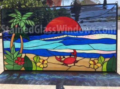 Crab Palm Tree Sunset Stained Glass Window Panel, Hangings - Beach Waves Ocean Flowers Stain Windows Customizable Item#300