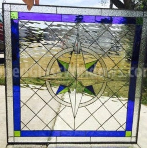 Classic Diamonds & Compass Rose Stained Glass Window Panel - Clear Textured Tudor Style Stain Geometric Art Customizable Item#173