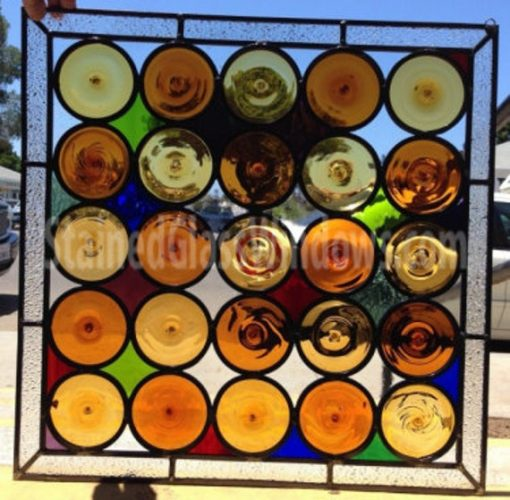 Roundels Classic Stained Glass Window, Panel, Wine Bottoms Art - Rustic Copper Modern Gift Customizable Item#381