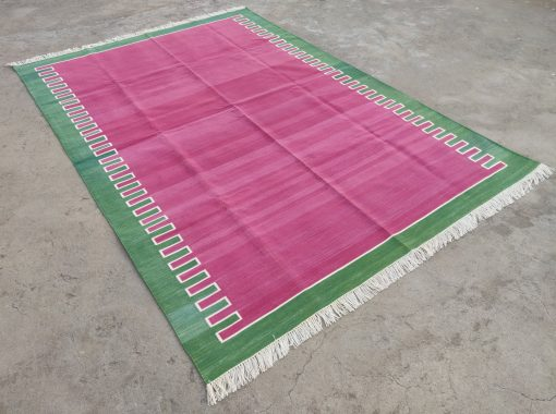 Cotton Home Décor Living Room Flat Weave Rug 6'x9' Hand Woven Natural Vegetable Dyed Raspberry & Green Reversible Striped Area Dhurrie