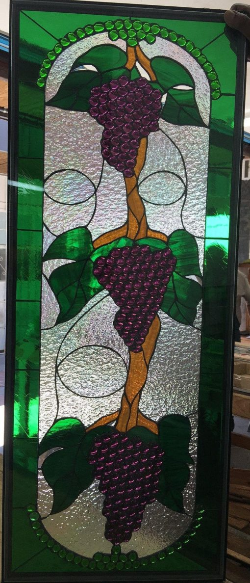 Grape Cluster Trio - Stained Glass Window Panel, Hangings, Kitchen Cabinet Inserts, Sidelight Fruit Stain Customizable Item#334