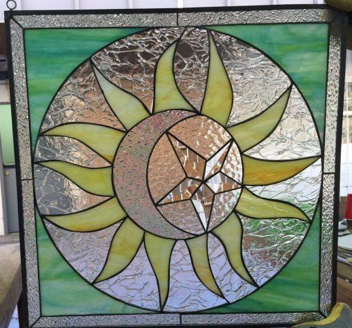Mystical Sun & Moon Stained Glass Window Panel #4 - Iridescent Beveled Star Half Crescent Round Design Customizable Item#349