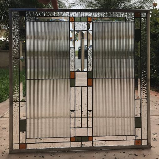 Custom Sized Elegant Stained Glass Window Panel, Cabinet Insert - Bishop Straight Lines Clear Texture Pattern Item#344