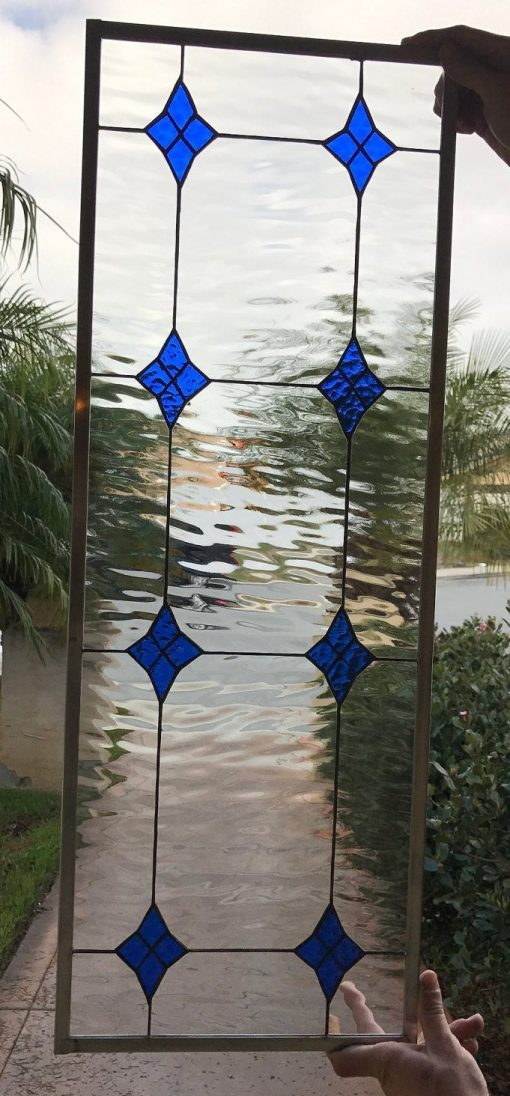 Blue Clear Diamond Stained Glass Window Panel, Transom - Lancaster Art Decor Sidelights Entryway Customizable Item#423