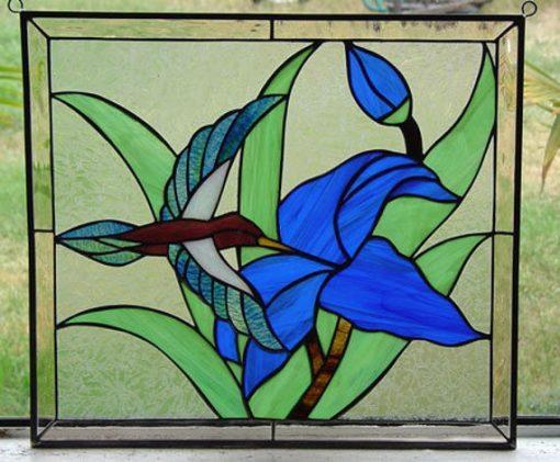 Hummingbird & Iris Stained Glass Window, Panel, Hangings - Leaded Glass, Feeding Bird, Blue Bud Custom Made Item#479