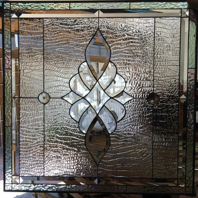 Beveled Stained Glass Panel - Clear Leaded Window, Hangings Abstract, Modern Customizable Item#471