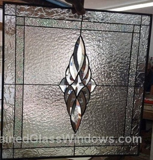Clear Beveled Stained Glass Window, Hangings, Panel - Cabinet Inserts Modern Art Customizable Item#247