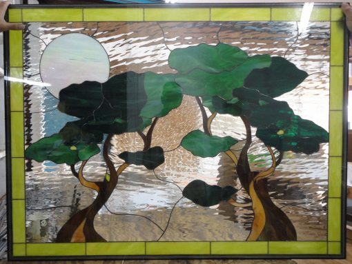 Awesome Bonzai Trees & Iridescent Moon Stained Glass Window Panel - Tree Stain Clear Textured Customizable Item#214