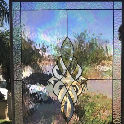 Iridescent Leaded Stained Glass Window Panel, Cabinet Insert - Oakley Clear Beveled Geometric Floral Pattern Customizable Item# 71