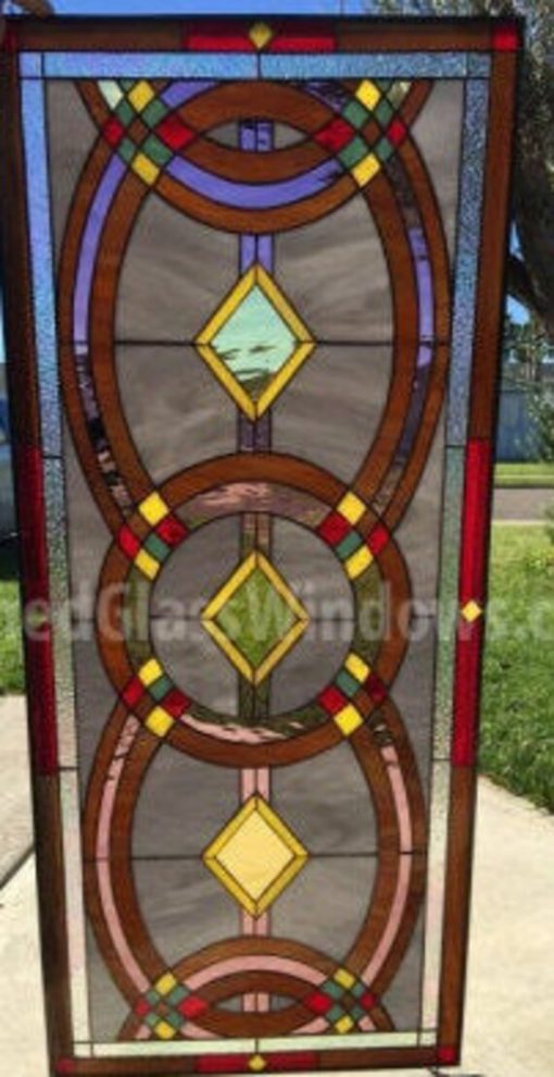 Colorful Geometric Stained Glass Window Panel, Transom - Foster Abstract Vintage Gothic Art Customizable Item#111