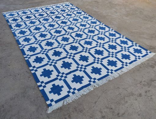 Cotton Home Décor Living Room Flat Weave Rug 8'x10' Handwoven Natural Vegetable Dyed Indigo Blue White Reversible Striped Area Dhurrie