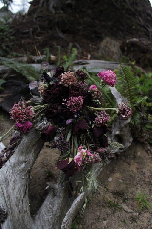 Dried Floral Arrangement, Bottle Home Decor Florals, Moody Flowers, Roses, Purple Flowers