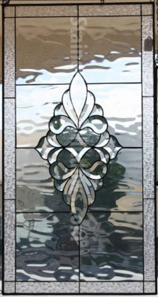 Beveled Glass Window Panel, Hangings - Clear Textured Stained Abstract Geometric Art Custom Made Item#450