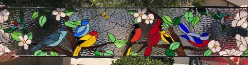 Colorful Bird Gathering #2 Stained Glass Window Transom Panel, Hangings - Cardinal Sparrow Bluebird Robin Church Customizable Item#244
