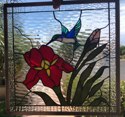 Gorgeous Iris & Hummingbird Leaded Stained Glass Window Panel - Flying Humming Bird Stain Red Flower Art Customizable Item#390