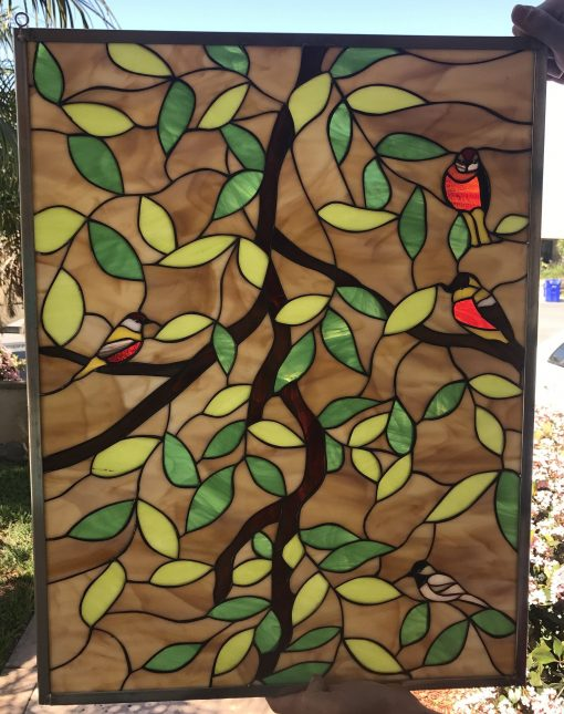 Leaded Stained Glass Magnolia Leaves & Birds Window Panel - Stain Flowers, Autumn Leaves, Cardinal, Red Customizable Item#411
