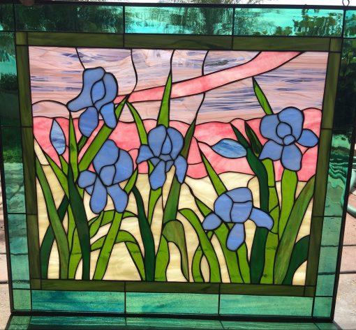 Pastel & Purple Irises Stained Glass Window Panel - Blue Iris Flower Art Decor Twilight Customizable Item#441
