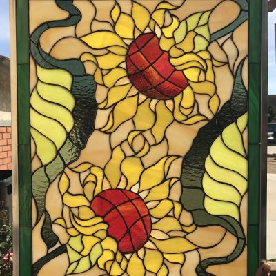 Summer Time Sunflower Stained Glass Window Panel, Hangings - Flower Art Gift Customizable Item#318