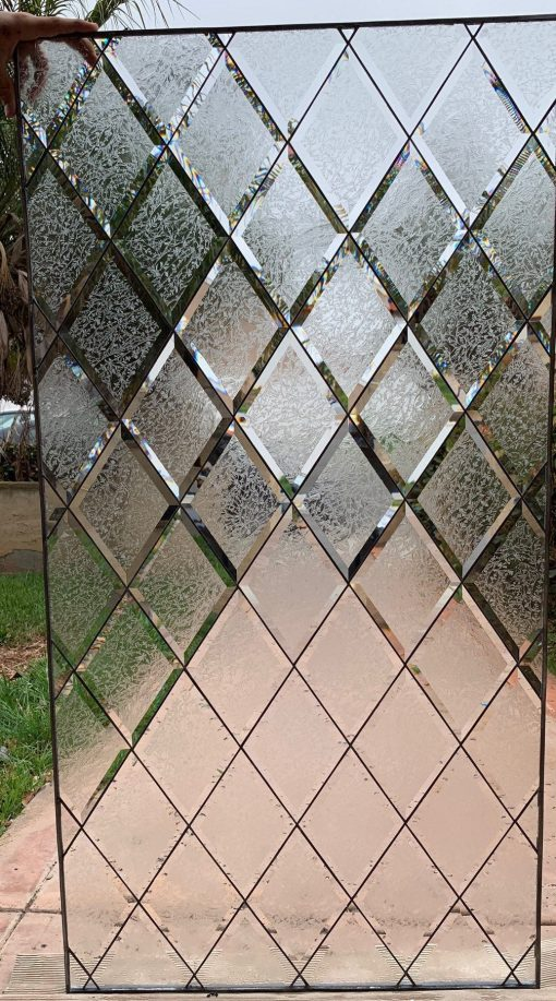 Classic Frosted Beveled Stained Glass Window Panel - Glue Chip Diamond Privacy Tudor Sytle Clear Textured Customizable Item#227