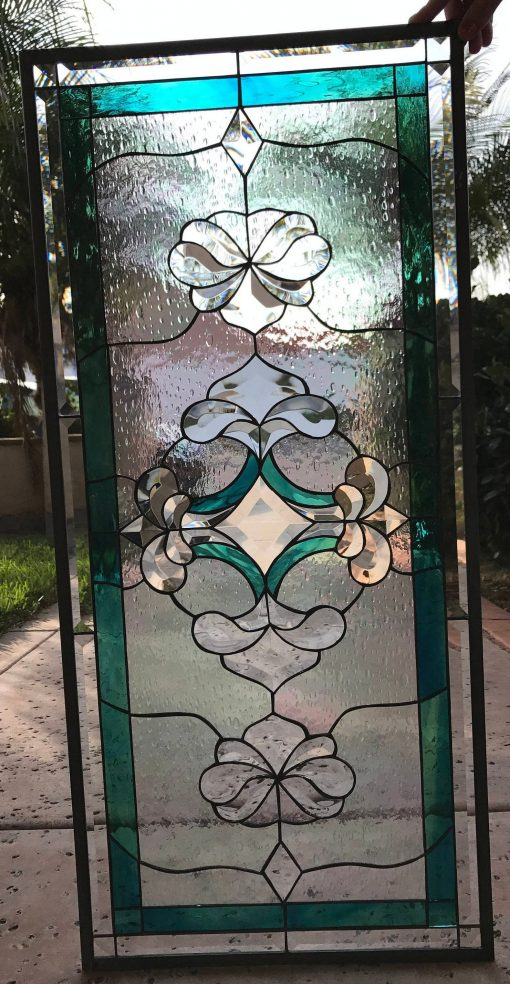 Exquisite Beveled Stained Glass Leaded Window Panel, Cabinet Insert - Imperial Clear Transom Geometric Pattern Customizable Item#120