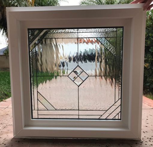 Leaded Stained Glass Beveled Window With Frame - Del Mar Install Ready Vinyl Framed & Insulated Customizable Item#157