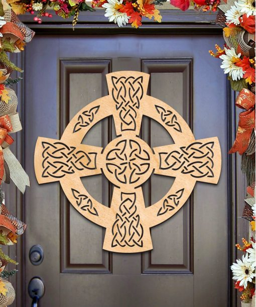 Celtic Wheel Cross Wall Decor, Door Hanger, Unfinished Wood, Housewarming Gift - 93161H-20