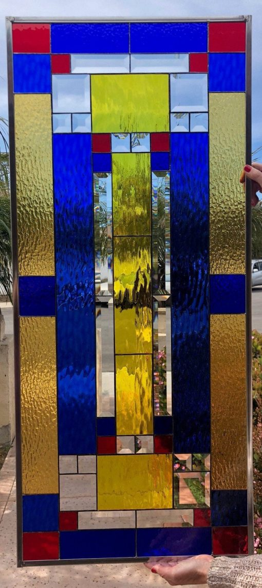 Breathtaking Craftsman Mission Style Stained Glass Window Panel - Copper Gold Blue Abstract Modern Geometric Art Customizable Item#178
