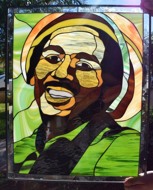 Bob Marley Stained Glass Window Panel, Hangings - Hand Cut Art Painting Decor Gift Customizable Item#419