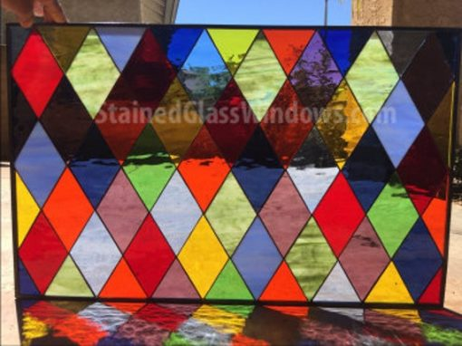Colorful Harlequin Diamonds Leaded Stained Glass Window Panel, Hangings - Abstract Geometric Art Customizable Item#323
