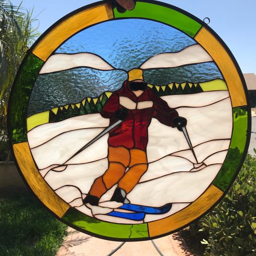 Snow Skier Leaded Stained Glass Window Panel, Gift Hangings, Sport, Snow, Ice, Ski, Mountains, Circle, Round, Skiing - Customizable Item#255