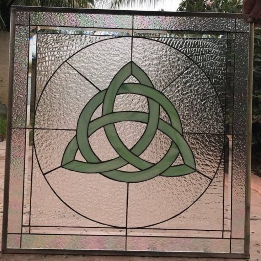 Green Celtic Knot Clear Textured Stained Glass Windows - Limerick Gothic Art Geometric Abstract Customizable Item#343