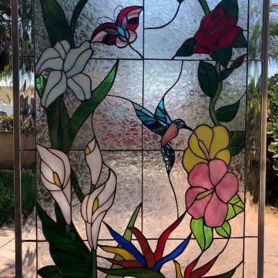 Elegant Hummingbird, Butterfly & Flowers Stained Glass Windows Panels Hangings - Flying Bird Stain Window Customizable Item#260