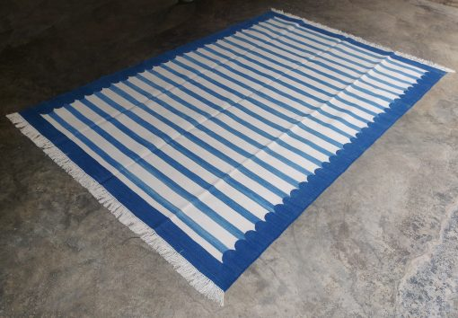Cotton Home Décor Rug Rag Flat Weave 6'x9' Handwoven Natural Vegetable Dyed Blue White Reversible Striped Scalloped Dhurrie Area Kilim