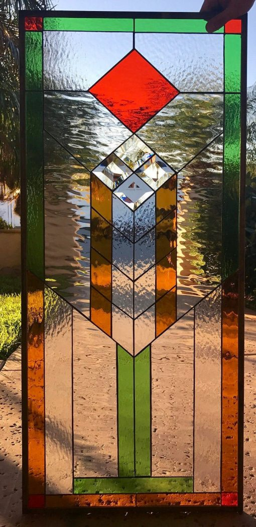 Prairie Mission Style Stained & Beveled Glass Window Panel - Denton Hangings Copper Red Green Clear Customizable Item# 83