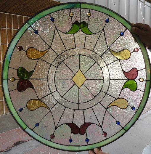 Round Teardrop Victorian Window Panel - Stained Glass Design Customizable Item #531