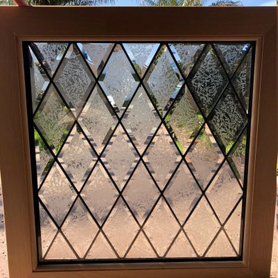 Wood Framed & Insulated Beveled Stained Glass Window Panel - Glue Chip Diamond Privacy Tudor Sytle Clear Textured Customizable Item#9912