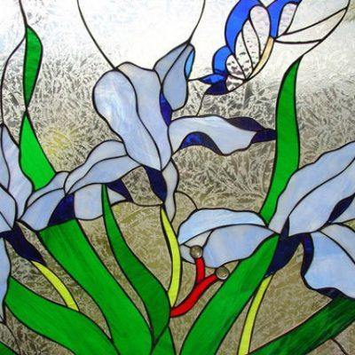 Blue Iris, Butterfly Stained Glass Window Panel - Flower Art Home Decor Customizable Item# 97