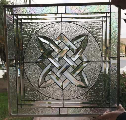 Celtic Knot Beveled Clear Textured Leaded Stained Glass Panel - Tullamore Abstract, Vintage, Gothic Art Customizable Item#382